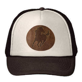 Leather-Look Horse Trucker Hat