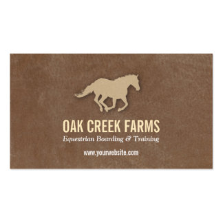 Leather look horse imprint business cards for Horse business cards
