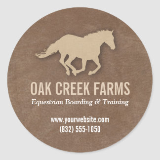 Leather Look Horse Imprint Classic Round Sticker