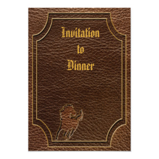 """Leather-Look Horse 5"""" X 7"""" Invitation Card"""