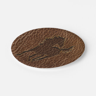 Leather-Look Horse Paper Plate