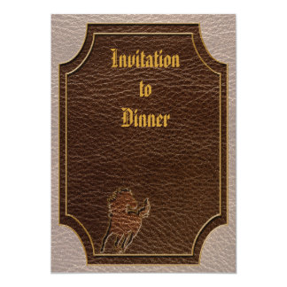 """Leather-Look Horse Soft 5"""" X 7"""" Invitation Card"""