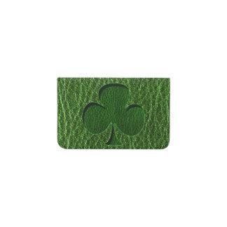 Leather-Look Irish Clover Business Card Holder