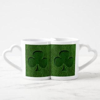 Leather-Look Irish Clover Coffee Mug Set
