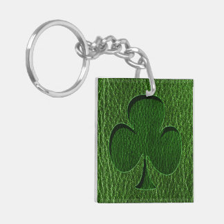 Leather-Look Irish Clover Keychain