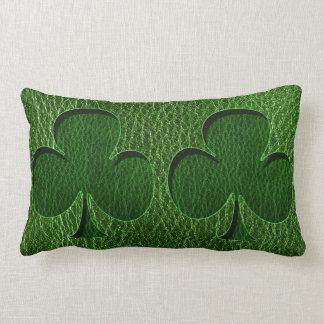 Leather-Look Irish Clover Lumbar Pillow