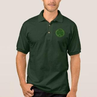 Leather-Look Irish Clover Polo Shirt
