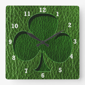 Leather-Look Irish Clover Square Wall Clock