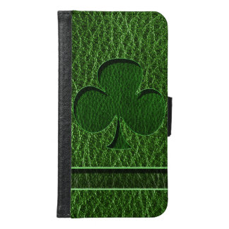 Leather-Look Irish Clover Wallet Phone Case For Samsung Galaxy S6