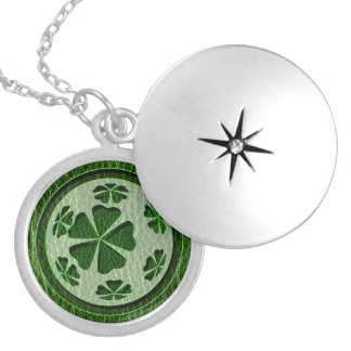 Leather-Look Irish CloverBall Silver Plated Necklace