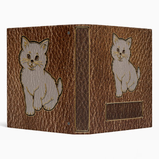 Leather-Look Kitten 3 Ring Binder