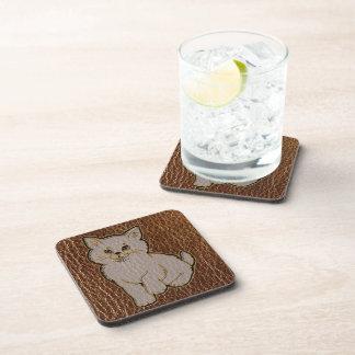 Leather-Look Kitten Beverage Coaster
