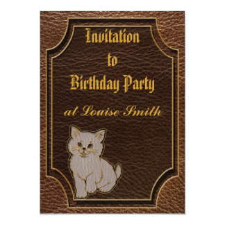 Leather-Look Kitten Card