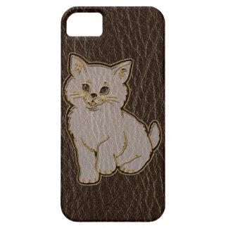 Leather-Look Kitten Dark iPhone SE/5/5s Case