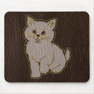 Leather-Look Kitten Dark Mouse Pad