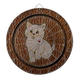 Leather-Look Kitten Dartboard With Darts