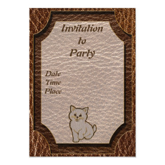 Leather-Look Kitten Magnetic Card