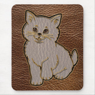 Leather-Look Kitten Mouse Pad