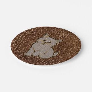 Leather-Look Kitten Paper Plate