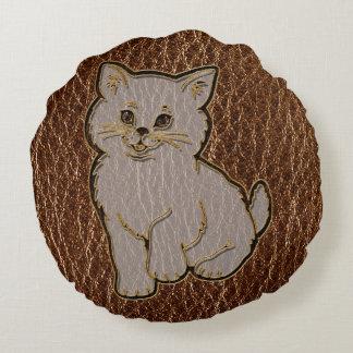 Leather-Look Kitten Round Pillow