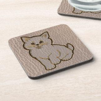 Leather-Look Kitten Soft Coaster