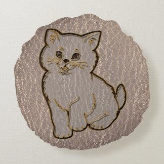 Leather-Look Kitten Soft Round Pillow