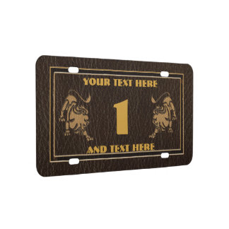 Leather-Look Leo License Plate