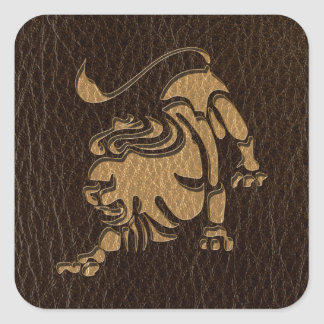 Leather-Look Leo Square Stickers