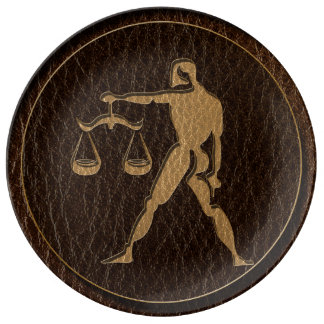 Leather-Look Libra Dinner Plate