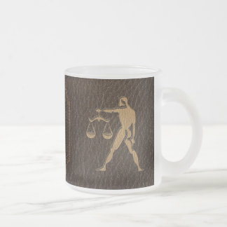 Leather-Look Libra Frosted Glass Coffee Mug