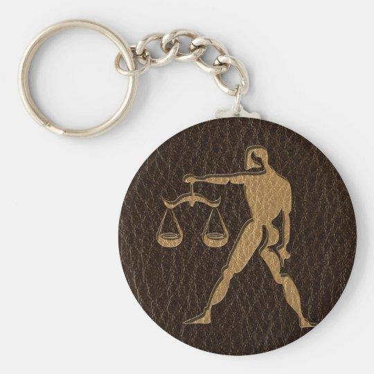 Leather-Look Libra Keychain