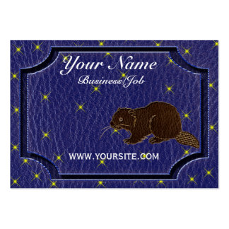 Leather-Look Native American Zodiac Beaver Business Cards