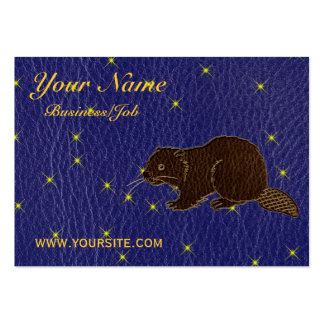 Leather-Look Native American Zodiac Beaver Business Card Template