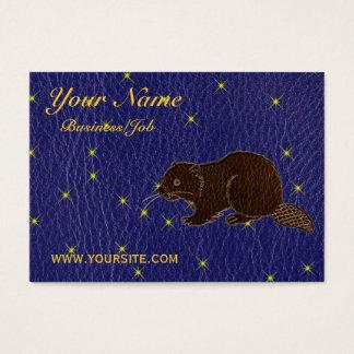 Leather-Look Native American Zodiac Beaver Business Card