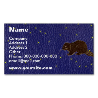 Leather-Look Native American Zodiac Beaver Magnetic Business Cards (Pack Of 25)