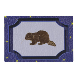 Leather-Look Native American Zodiac Beaver Placemat