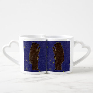 Leather-Look Native American Zodiac Brown Bear Coffee Mug Set