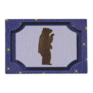 Leather-Look Native American Zodiac Brown Bear Placemat