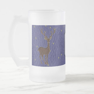 Leather-Look Native American Zodiac Deer Frosted Glass Beer Mug