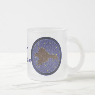 Leather-Look Native American Zodiac Falcon Frosted Glass Coffee Mug