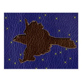 Leather-Look Native American Zodiac Falcon Postcard