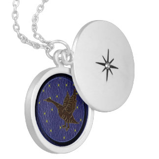 Leather-Look Native American Zodiac Goose Locket Necklace