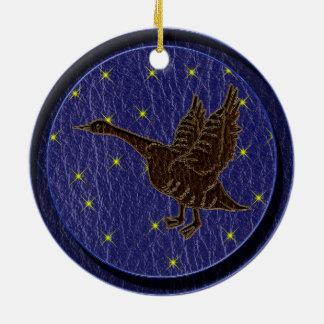 Leather-Look Native American Zodiac Goose Ornament
