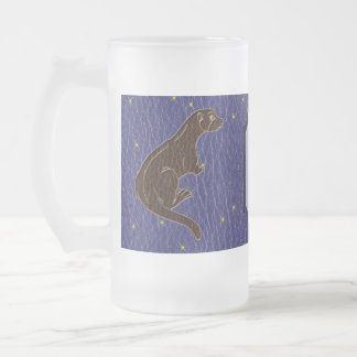 Leather-Look Native American Zodiac Otter Frosted Glass Beer Mug