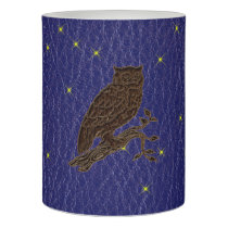 Leather-Look Native American Zodiac Owl Flameless Candle
