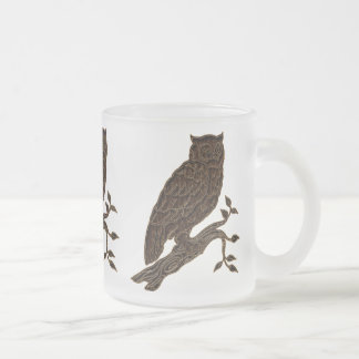 Leather-Look Native American Zodiac Owl Frosted Glass Coffee Mug
