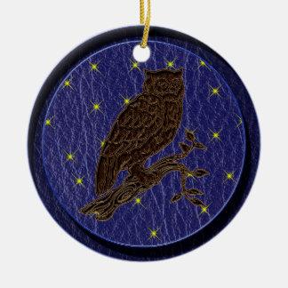 Leather-Look Native American Zodiac Owl Christmas Ornament