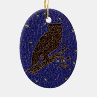 Leather-Look Native American Zodiac Owl Christmas Ornaments