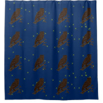 Leather-Look Native American Zodiac Owl Shower Curtain