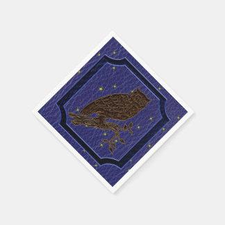 Leather-Look Native American Zodiac Owl Standard Cocktail Napkin